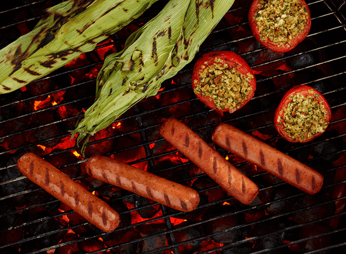 Grilled Sausage Links with Vegetables