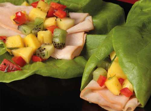 Turkey Lettuce Wrap With Mango Fruit Salad