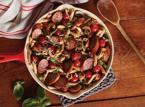Smoked Sausage and Tomato Skillet