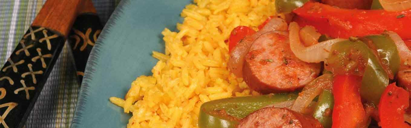 Spicy Yellow Rice And Smoked Sausage