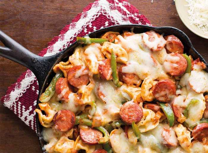 Smoked Sausage and Tortellini Skillet