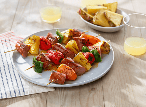 Glazed Sausage and Pineapple Kabobs