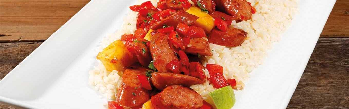 Hawaiian Pineapple Sweet Sour Smoked Sausage