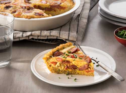 Hillshire Farm Smoked Sausage Quiche with Cauliflower Crust