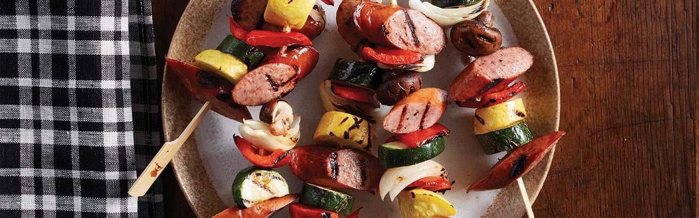 Smoked Sausage and Veggie Kabobs
