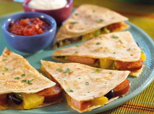 Sausage And Pineapple Quesadillas