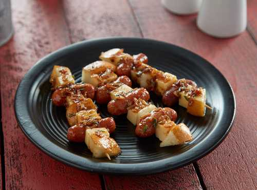 Caramelized Onion, Smoked Gouda and Pear Skewers with Lit'l Smokies® smoked sausages
