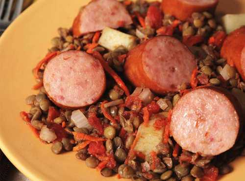 Baked Sausage With Lentils And Vegetables