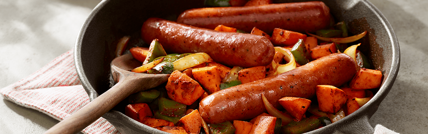 Sausage Links with Sweet Potato Hash