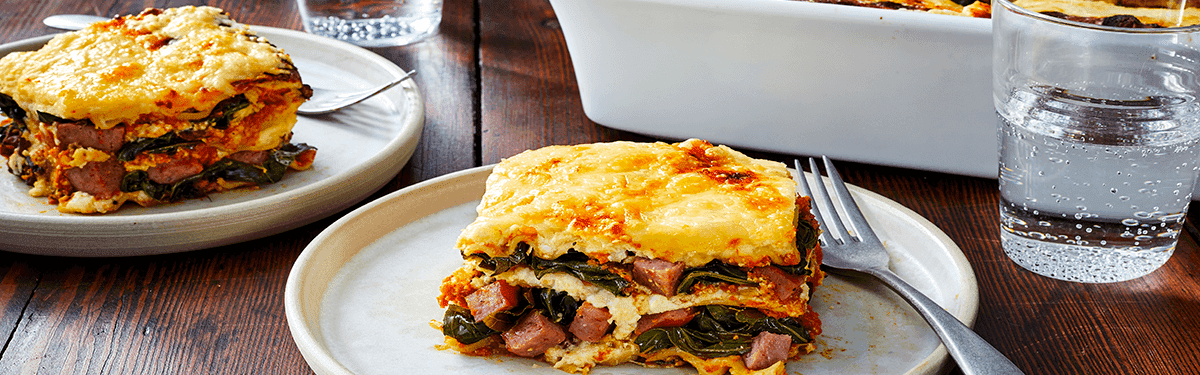 Smoked Sausage, Pumpkin and Collard Greens Lasagna
