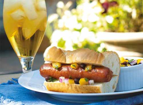 Grilled Hot Links With Mango Salsa