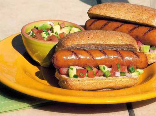 Cheddarwurst® Smoked Sausage Topped With Fresh Avocado Salsa