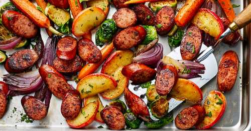 Sheet Pan Smoked Sausage, Apple, and Root Veggie Dinner