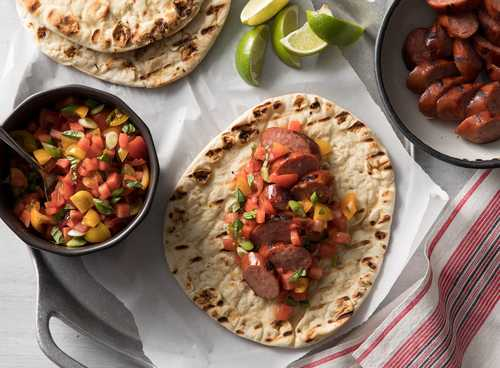 Hillshire Farm® Smoked Sausage Flatbread Sandwiches with Watermelon Salsa